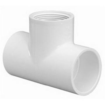 Picture of 3/4 X 1/2 X 1/2 S40 PVC S X FPT TEE 402094