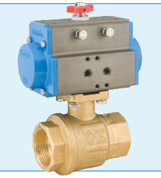 """Picture of Bonomi 8P0082LF-1.5  1-1/2"""" Spring Return Actuated Lead Free Brass Ball Valve - Brass body and Brass trim"""