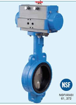 """Picture of Bonomi SRN500S-4 Spring Return Actuated  4"""" Butterfly Valve NSF certified Wafer-CI body-SS Disc-Food Grade EPDM Seat w. pneumatic actuator"""