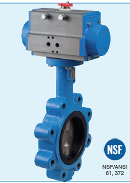 """Picture of Bonomi SRN501S-5 Spring Return Actuated  5"""" Butterfly Valve NSF certified LUG -DI body-SS Disc-Food Grade EPDM Seat w. pneumatic actuator"""