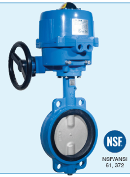 """Picture of Bonomi MEN500S-002-1.5 Actuated 1-1/2"""" Butterfly Valve NSF certified Wafer -CI body-SS Disc-Food Grade EPDM Seat w. 24v AC/DC  electric actuator ON/OFF"""